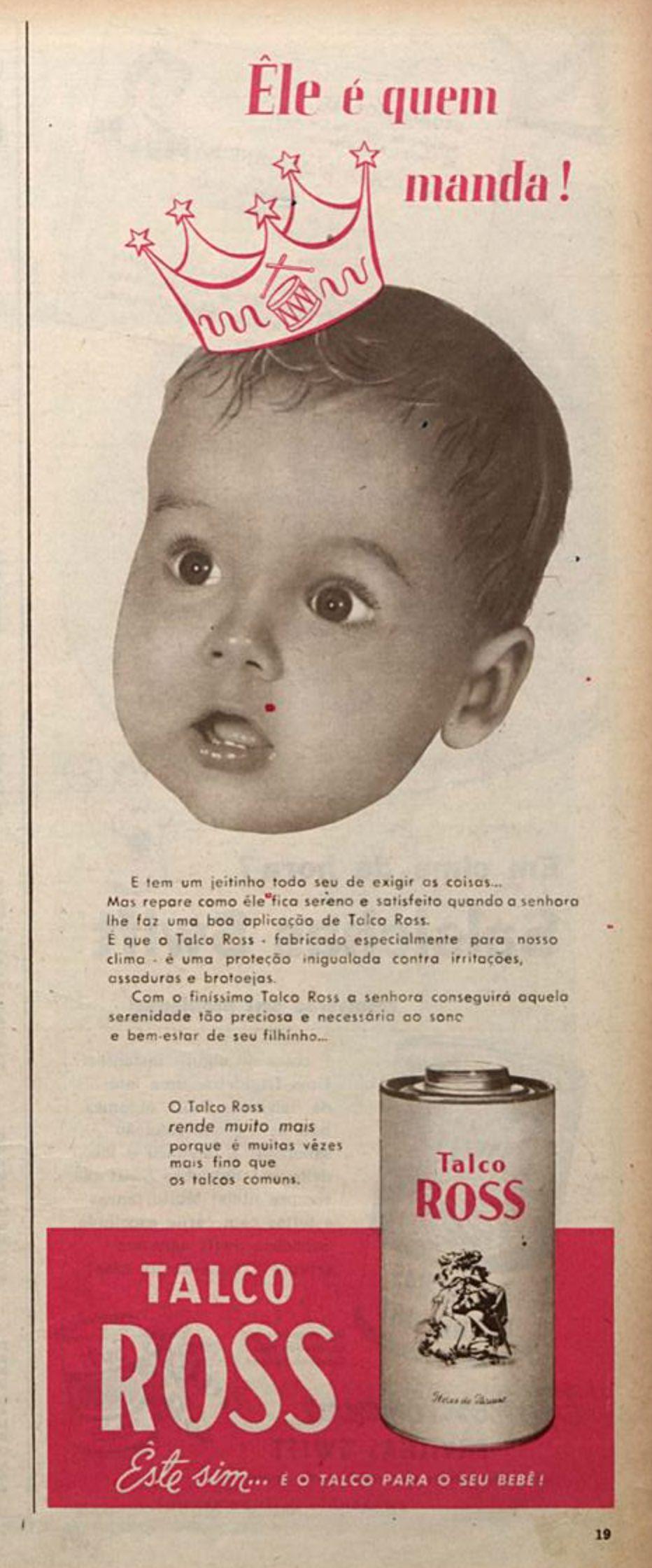 Propaganda veiculada em 1954 promovia o Talco Ross