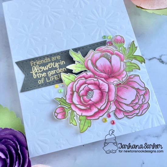 Peony Card by Farhana Sarker | Peony Blooms and Blooming Botanicals Stamp Sets, Frames & Flags Die Set and Bold Blooms Stencil by Newton's Nook Designs #newtonsnook #handmade
