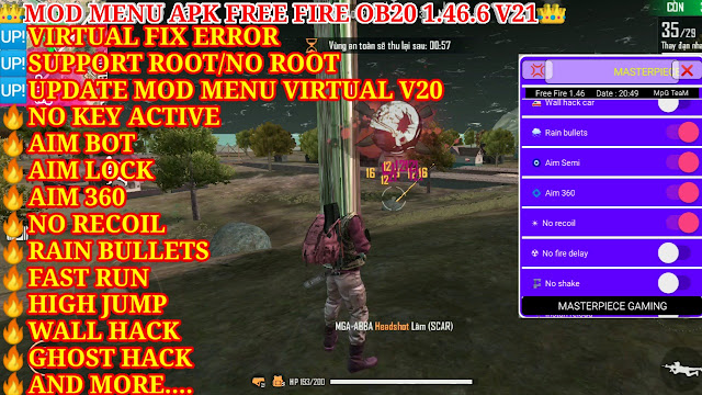 MOD MENU APK FREE FIRE OB20 1.46.6 V21 FREE - SUPPORT ROOT/NO ROOT, NO KEY ACTIVE, AND FUNCTIONS MOD