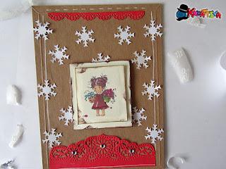 biglietto d'auguri con fiocchi di neve con fustella gemini