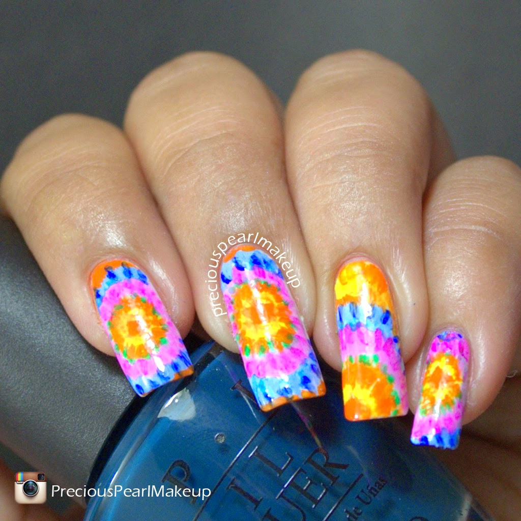 Preciouspearlmakeup Tie And Dye Nail Art And Tutorial
