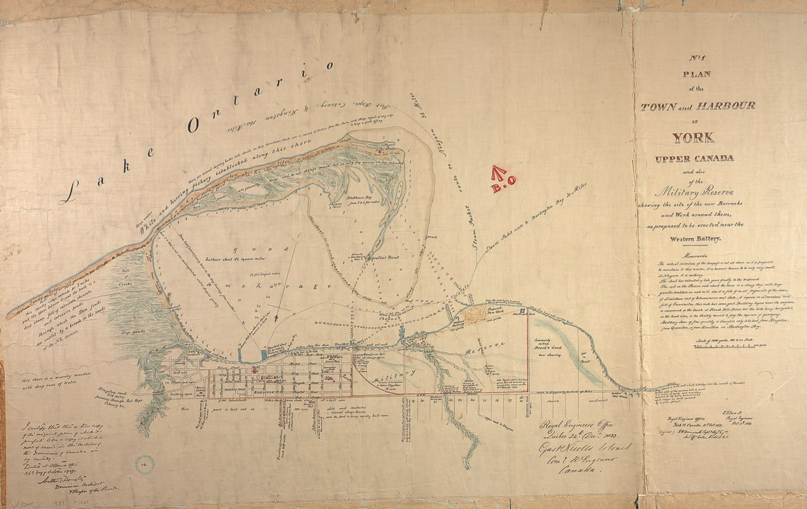1833 Bonnycastle No.1 Plan of the Town and Harbour of York Upper Canada