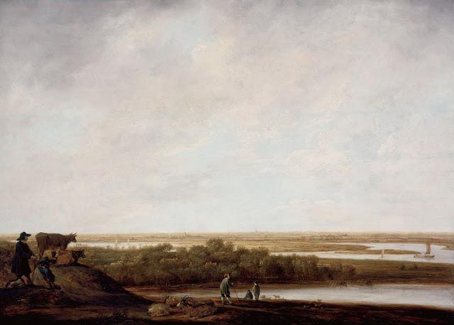 Альберт Кёйп - Панорамный пейзаж с пастухами. 1640-45