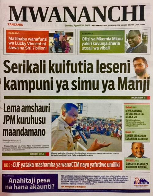HAYA HAPA MAGAZETI YA LEO IJUMAA AGOSTI 18, 2017 - NDANI NA NJE YA TANZANIA