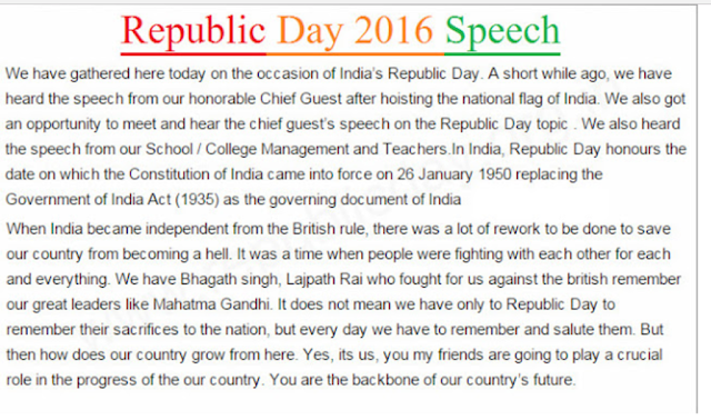short and sweet speech on republic day