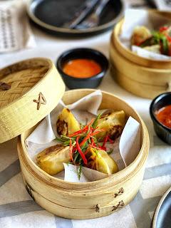 Pan-fried shitake mushroom and vegetable dumplings at Bao, Kuwait City