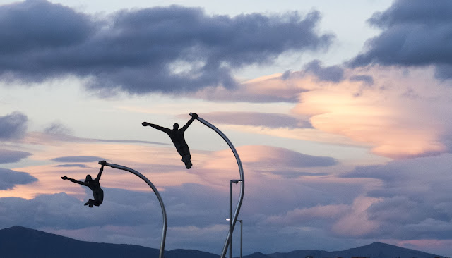 Patagonia in 2 weeks: Jumping people sculptures in Puerto Natales Chile