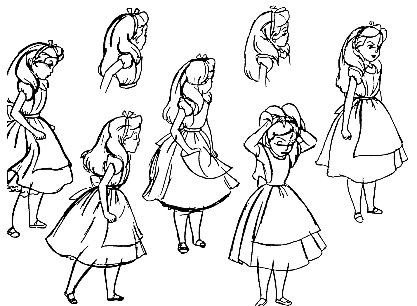 Cartoon Concept Design Alice In Wonderland Model Sheets