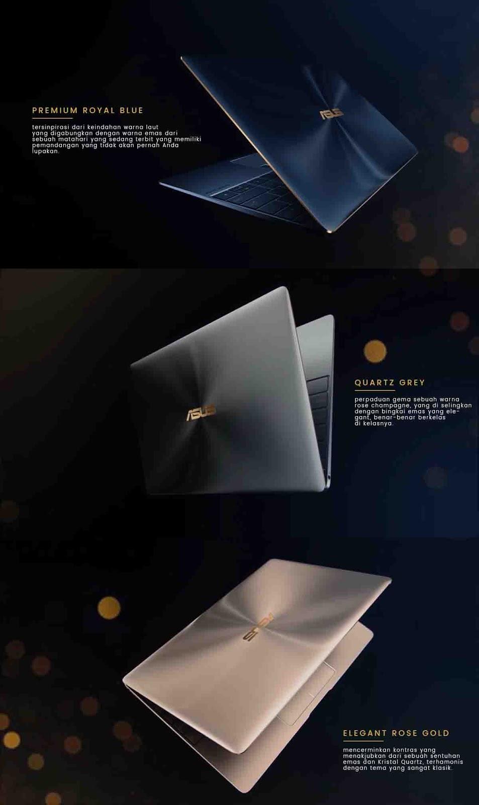3 Warna Laptop Asus Zenbook 3 UX390