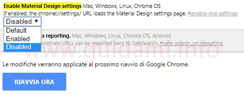 Chrome 59 flag per disattivare nuova grafica material design delle impostazioni