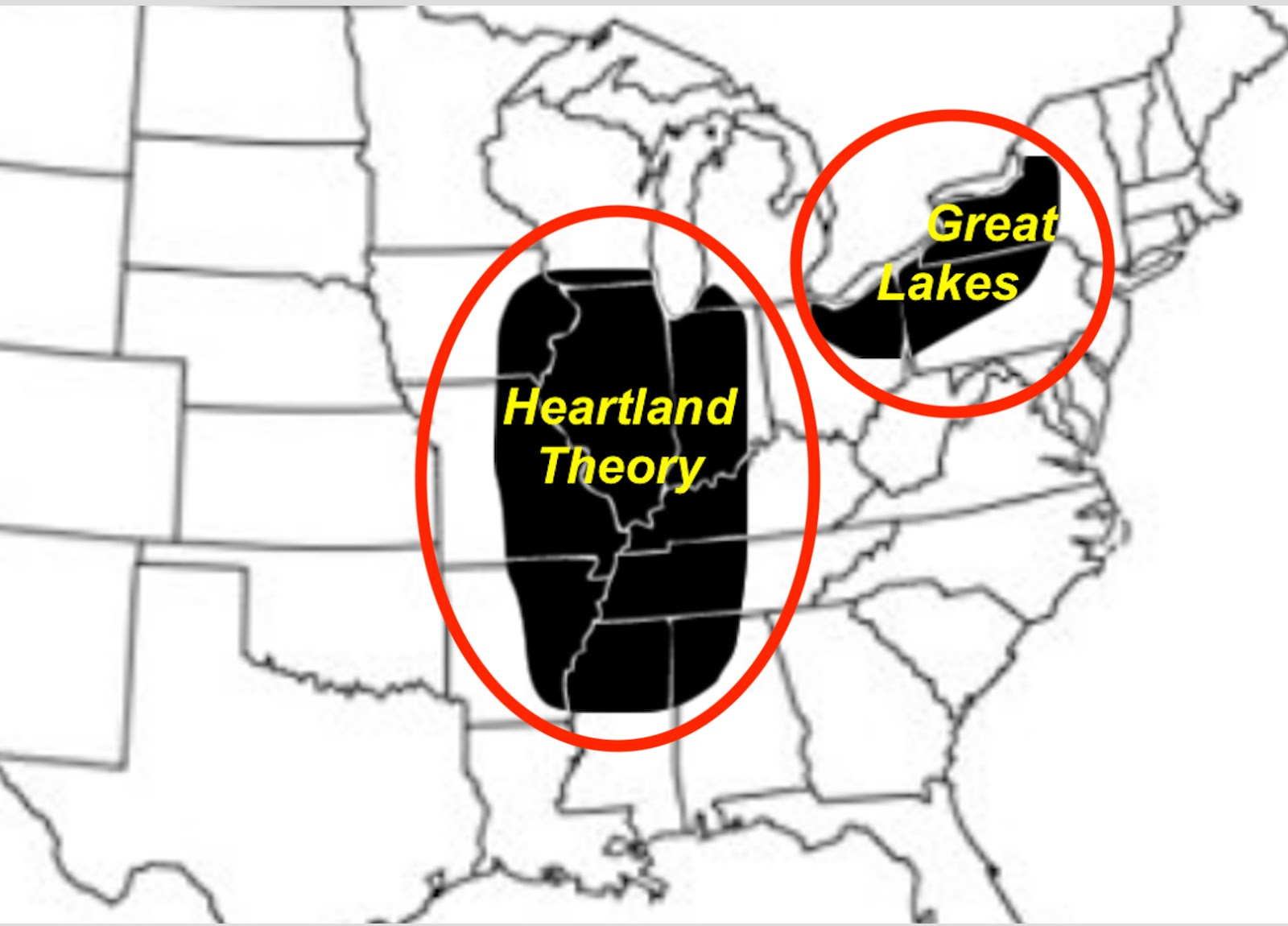 a rough outline of where the great lakes and heartland models claim for the land of promise locations in the u s
