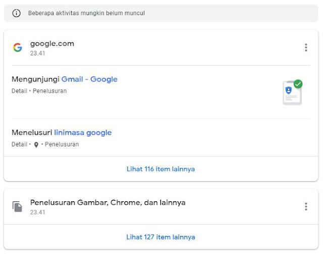 google tahu apa saja pencarianmu dan aktivitasmu