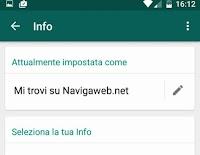 Modificare il vecchio stato su Whatsapp (ora si chiama Info)