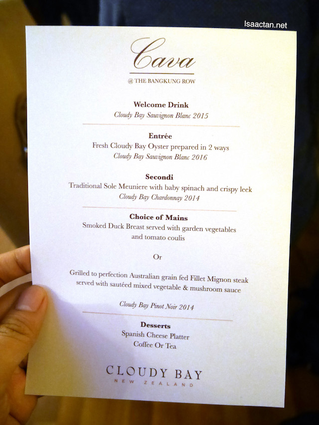 Our menu for the afternoon