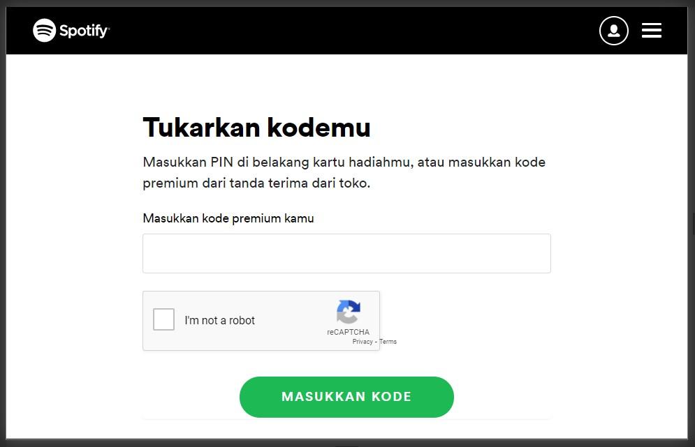 redeem kode spotify premium setelah login