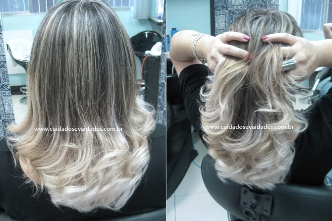 cabelo com luzes e pontas loiras
