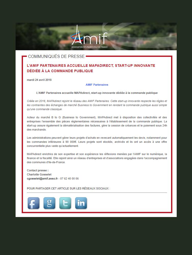 MAPAdirect rejoint le réseau AMIF partenaires