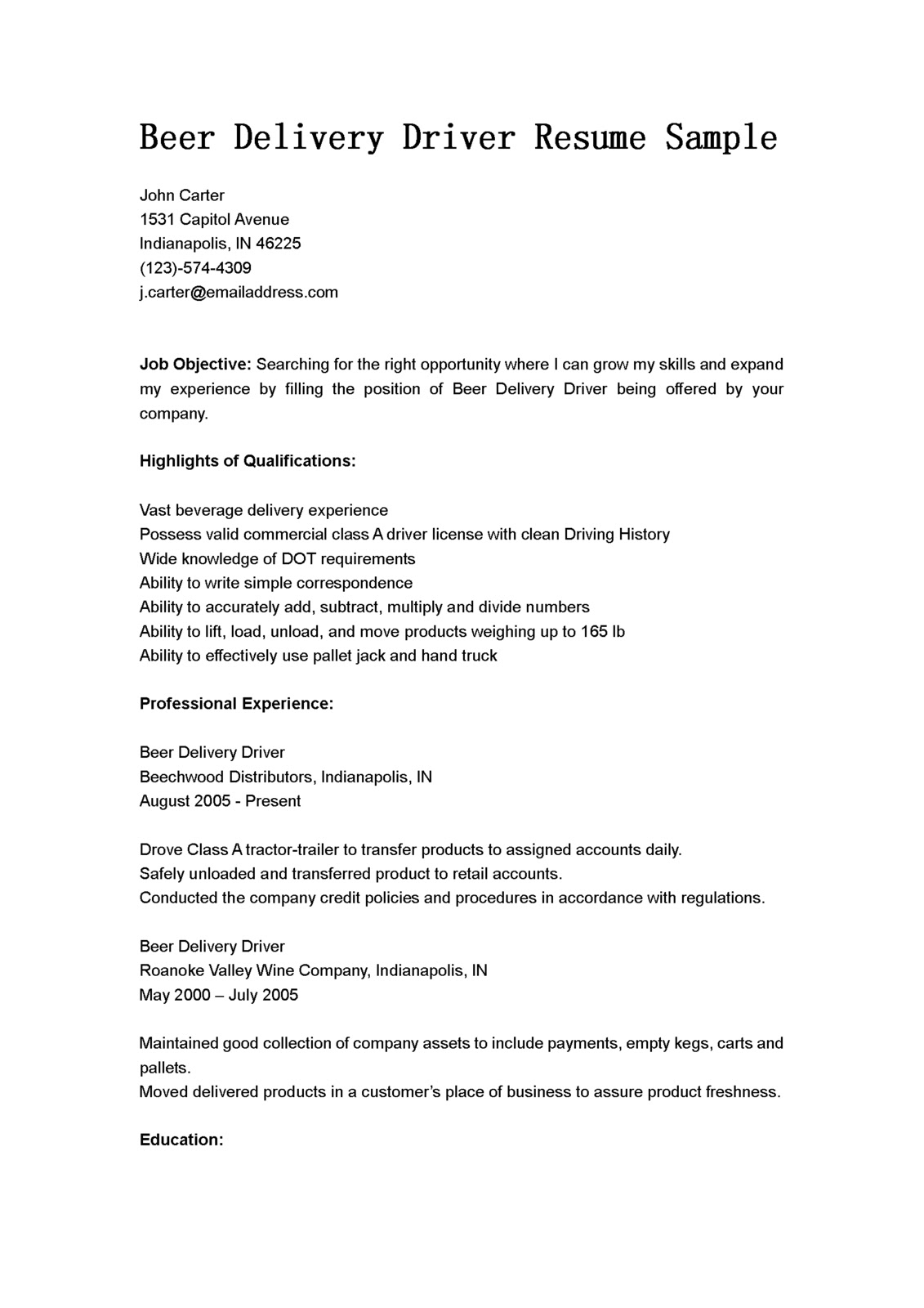 Cdl Resume Objective Examples Driver Resumes Delivery Driver Resume Sample Beer