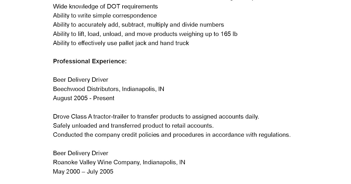 Driver Resumes: Delivery Driver Resume Sample Beer