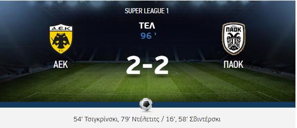ΑΕΚ - ΠΑΟΚ 2-2 σε ένα συγκλονιστικό ματς ως το τέλος