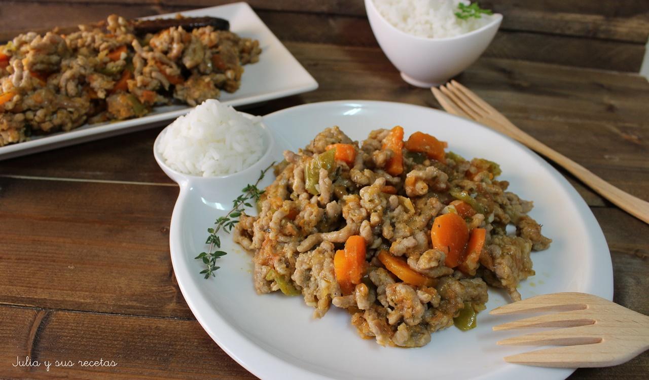 Julia y sus recetas carne picada con verduras - Que cocinar con carne picada ...