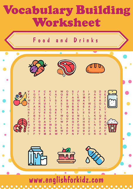 ESL food and drinks word search puzzle