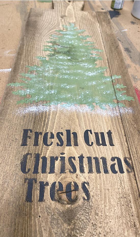 Stenciled Christmas tree on bread board