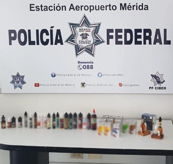 EN AEROPUERTO DE YUCATÁN, POLICÍA FEDERAL ASEGURA 36 FRASCOS CON UNA SUSTANCIA PSICOTRÓPICA