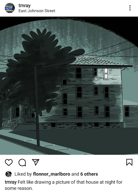 Photo by Tom Ray in East Johnson Street. An illustration of a house at night.
