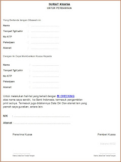 Download Surat Kuasa Khusus Perbankan