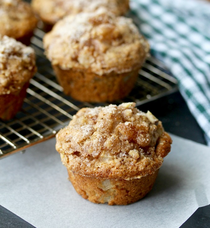 Vanilla Pear Muffins on a rack