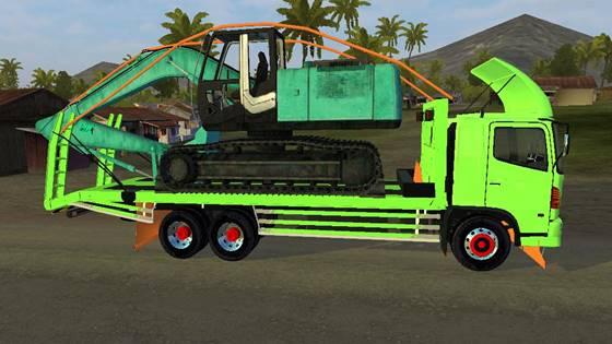 mod bussid hino 500 selfloader muatan excavator