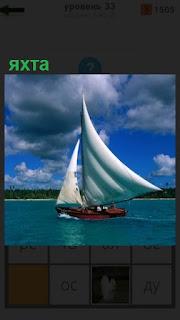 по волнам бежит яхта под белым парусом