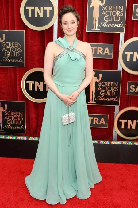 Andrea Risheborough in a mint Escada gown at the SAG Awards 2015