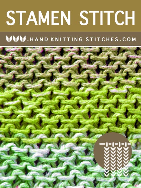 Hand Knitting Stitches - Stamen Slip Stitch Pattern #slipstitchknitting #knittingpattern #handknitting