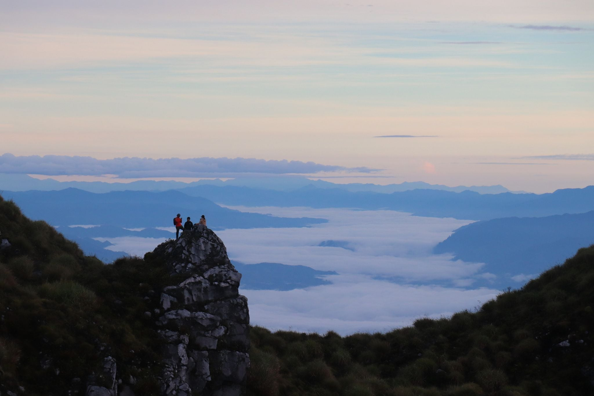 Climbing Mt. Apo Philippines Hikers at sea of clouds
