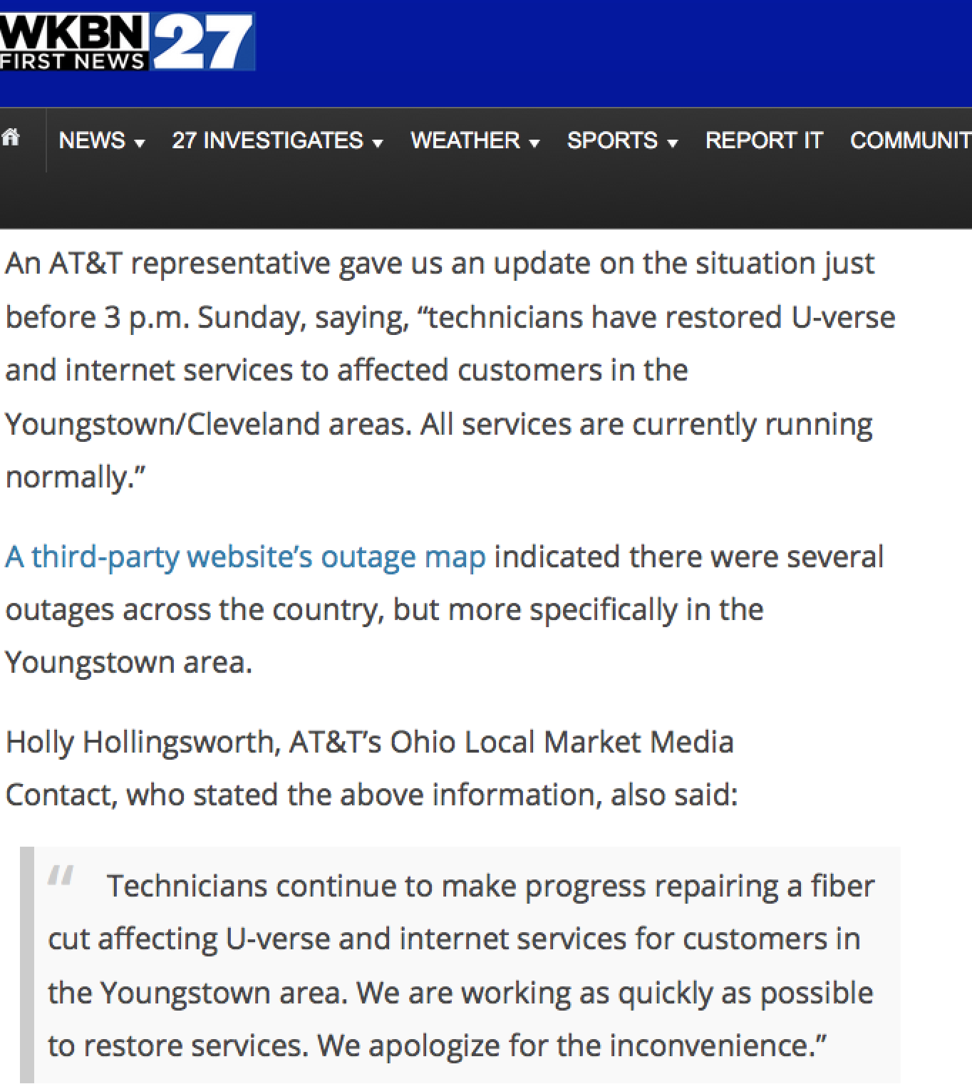 Common Sense Journalism: AT&T's massive outage shows how not