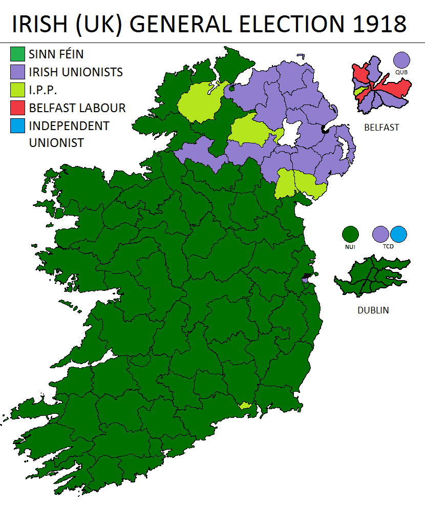 Map Of Ireland 1916.Irish Political Maps Irish Uk General Election 1918