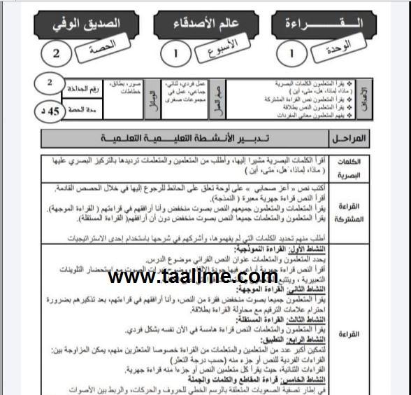 جذاذات المفيد في اللغة العربية الوحدة الأولى المستوى الثالث إبتدائي 2021-2022