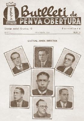 Componentes de la junta directiva de la Penya Obertura en 1933