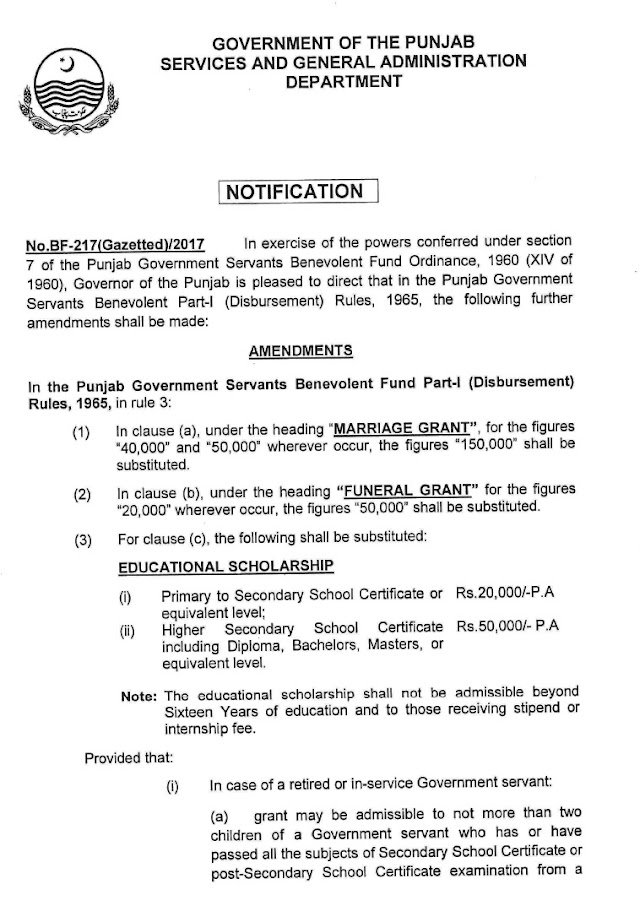 AMENDMENTS IN BENEVOLENT FUND GRANTS FOR GAZETTED GOVERNMENT EMPLOYEES