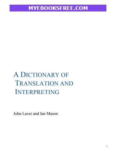 A Dictionary of Translation and Interpreting pdf book by Ian Mason download