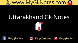 Uttarakhand Gk Notes in Hindi PDF