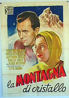 The movie poster for the Italian version of the British film The Glass Mountain