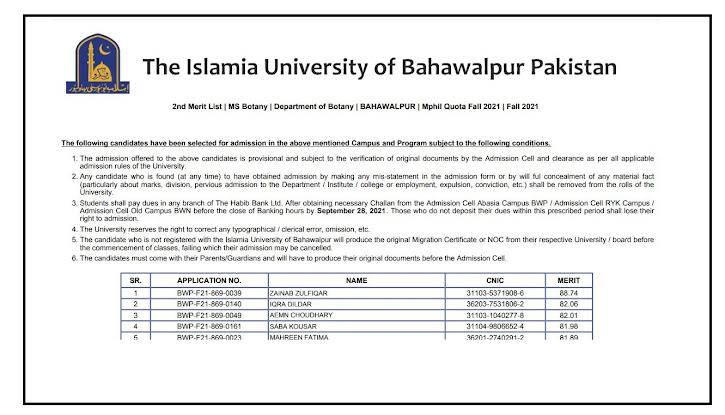 The Islamia University of Bahawalpur IUB Mphil 2nd Merit List Upload Bahawalpur , Bahawalnagar Fall Admissions 2021