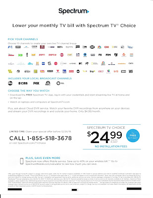 Spectrum Cable Back of Upsell Letter