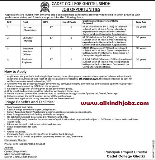 Cadet College Ghotki, Sindh Jobs 2020 | Teaching Jobs