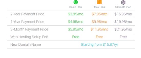 pricing,2 year,1 year ,3 month price plan,domain name