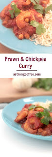 Healthy prawn and chickpea curry with fresh corriander.