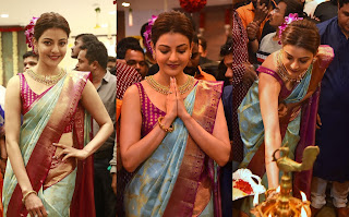 Kajal Aggarwal Looks Stunning in Kanjiwaram Saree Sleeveless Choli